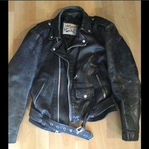 Vintage 90s Wilson's Leather Black Moto Jacket